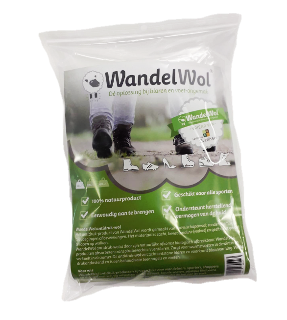 Wandelwol® anti-drukwol 20g. Helpt bij blaren en drukplekken
